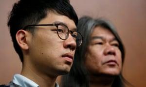 Nathan Law (left) and Leung Kwok-hung.