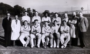 Alford Gardner (rear centre) and team-mates from a cricket club in Leeds in 1955