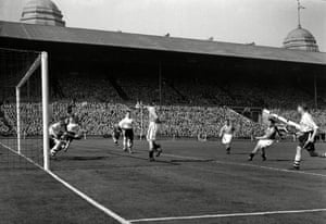Perry drives in the fourth goal for Blackpool.