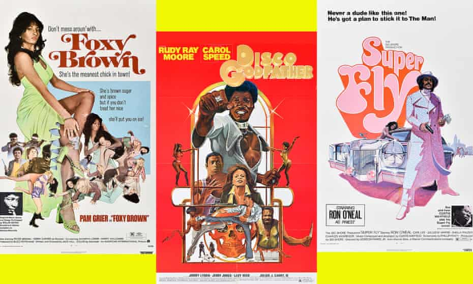 Posters for Foxy Brown, Disco Godfather and Super Fly.
