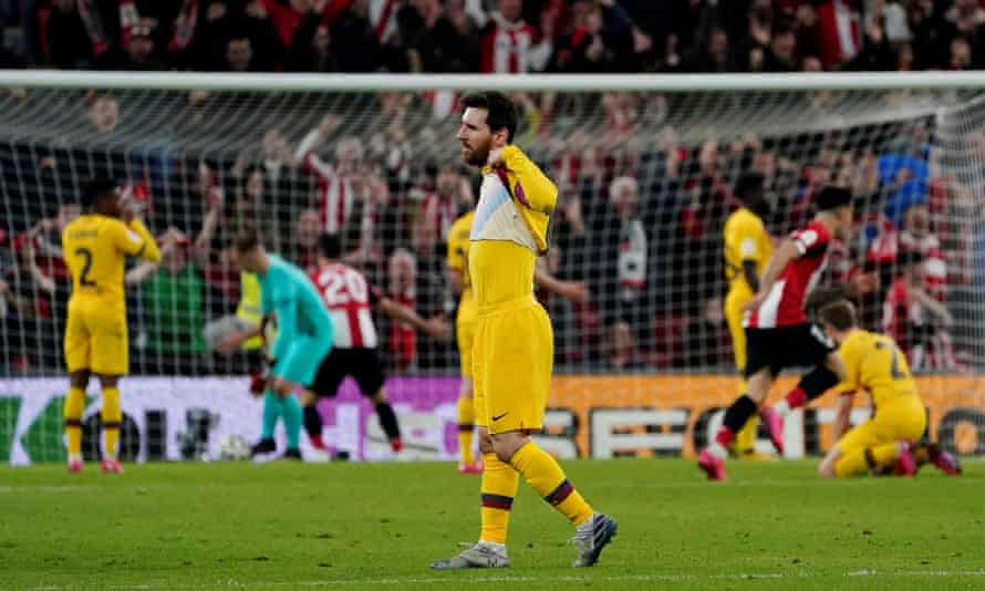 Lionel Messi reacts after Williams' late winner added to a bad week for Barcelona.