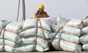 A worker moves bags of soybean meal