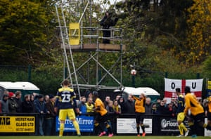 TV tower at the Merstham v Oxford United FA Cup First Round match