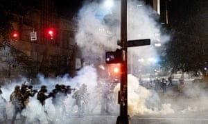 Federal agents use crowd control munitions to disperse Black Lives Matter protesters near the Mark O. Hatfield United States Courthouse on Monday, July 20, 2020, in Portland