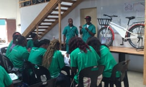 Mozambikes staff at a training session.