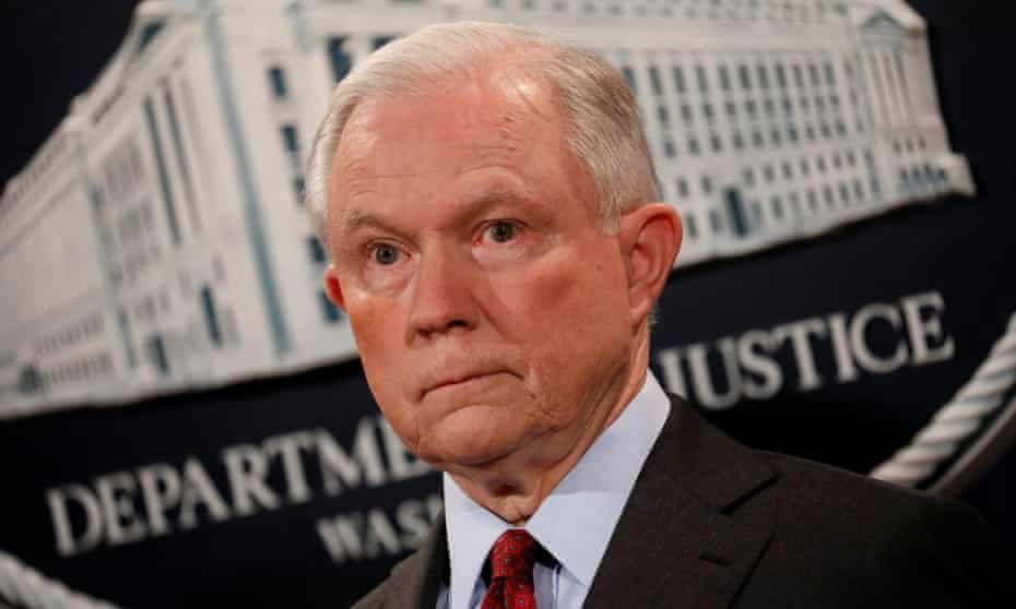 US attorney general Jeff Sessions announces takedown of the dark web marketplace AlphaBay at the Justice Department in Washington DC.