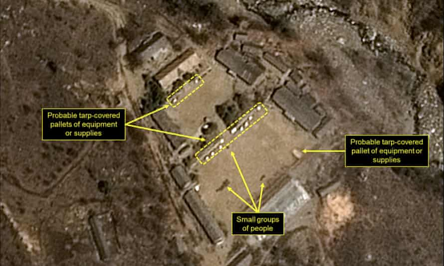 Satellite image released and notated by Airbus Defense & Space and 38 North shows increased activity at the Punggye-ri test site.