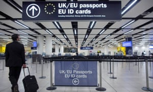 Passport control at an airport