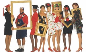 Patrick Kelly (second left) alongside models wearing his designs