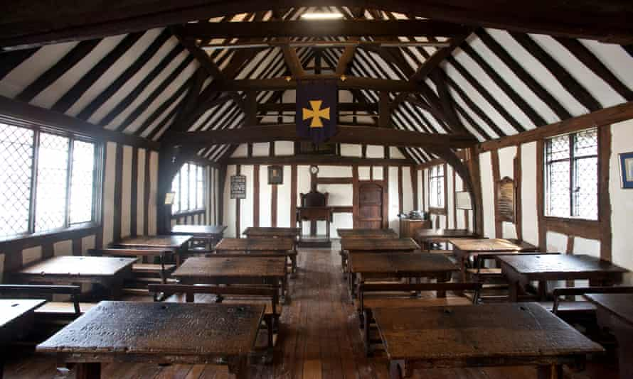 The 15th-century classroom at the King Edward VI School in Stratford-on-Avon, where William Shakespeare was educated.
