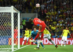Harry Kane has a chance for England when he arrives at the back stick to head an awkward cross goalwards. He can't quite guide the effort on target, though.