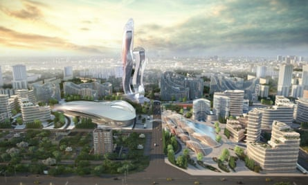 A rendering of the forthcoming Akon City in Senegal.