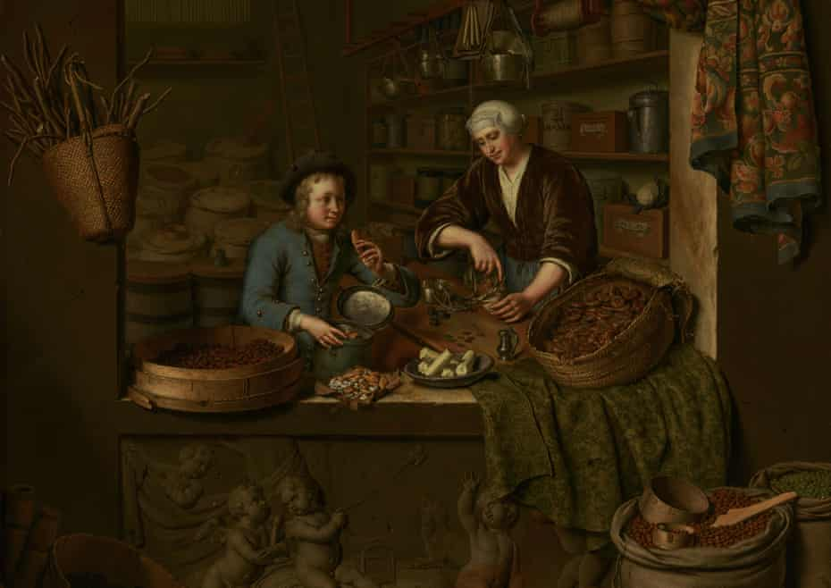 A Grocer's Shop, 1717 by Willem van Mieris (detail).