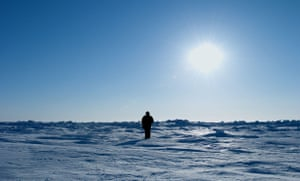 Still from Nummer Negen, The Day I Didn't Turn With the World, in which Guido van der Werve walks clockwise, in opposite rotation to the Earth, at the north pole.