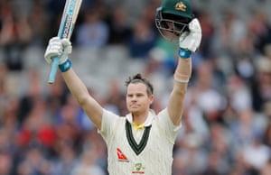 Steve Smith celebrates yet another Ashes century.