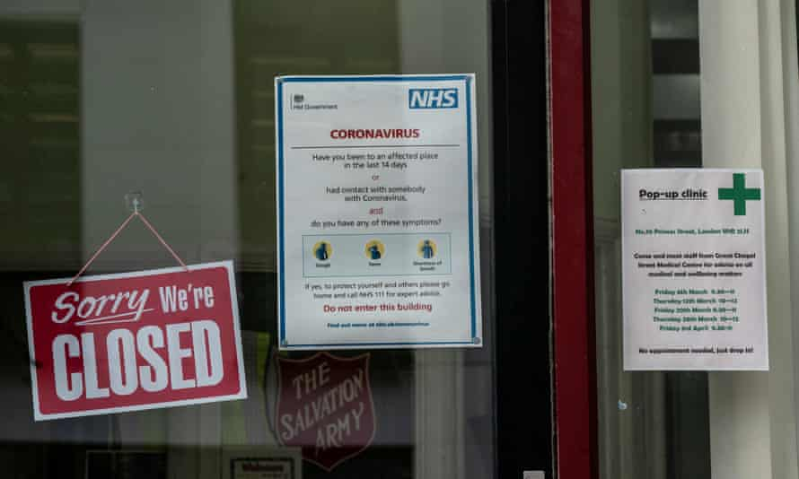 Coronavirus notice at the closed Salvation Army drop-in centre off Regent Street for homeless people.