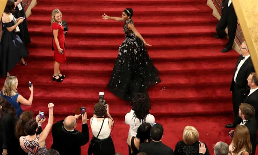 Janelle Monáe, a signatory of the Time's Up open letter, at the 2017 Academy Awards. Organizers plan to ask women to wear black on the red carpet at this year's Golden Globes.