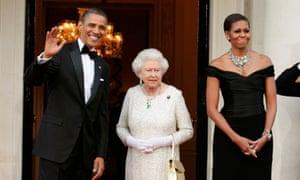 Barack Obama and Michelle Obama greet Queen Elizabeth ll in London in 2011.