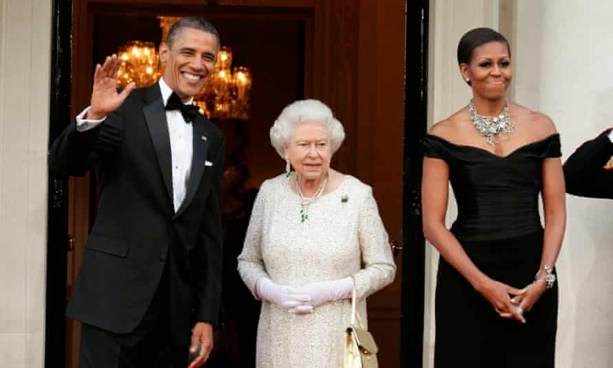 Barack Obama and Michelle Obama greet Queen Elizabeth ll in London in 2011.