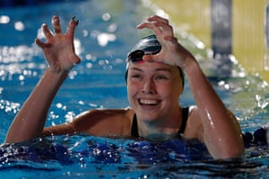 Minna Atherton from Australia of London Roar celebrates after victory in the women's 100m backstroke.