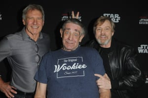Mayhew with Harrison Ford, left, and Mark Hamill at the 40 Years of Star Wars panel during the 2017 Star Wars Celebration in Orlando, Florida.