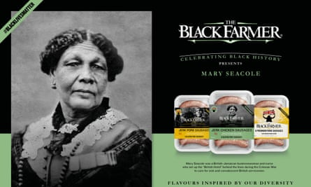The Black Farmer sausages with the image of Mary Seacole.