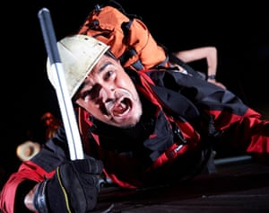 Josh Williams as Joe Simpson in Touching the Void at Bristol Old Vic in 2018.