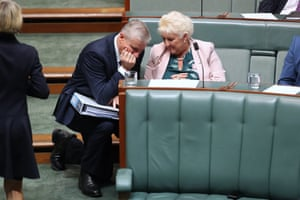 I wonder who they could be talking about:Deputy PM Michael McCormack talks to the member for Capricornia Michelle Landry