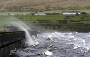 Gale force winds whip up waves on the reservoir at Ripponden on Saddleworth Moor near Manchester.