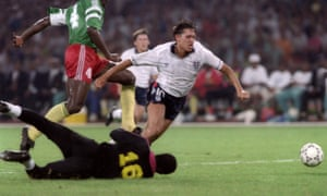 Gary Lineker goes over a penalty against Cameroon.