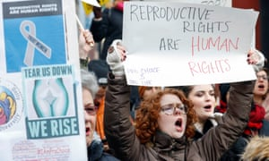 Demonstrators protest at an abortion rights rally.