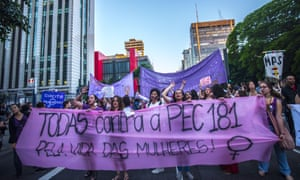 Women in São Paulo protest after a congressional committee voted for a total ban on abortion in November 2017