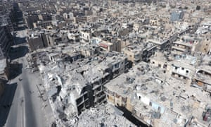 Aerial view of war-ravaged Aleppo, Syria