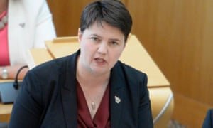 Ruth Davidson in the Scottish parliament at first minister's questions.