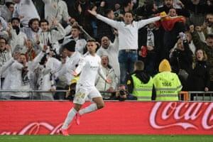 Real Madrid's Mariano Diaz celebrates his goal.