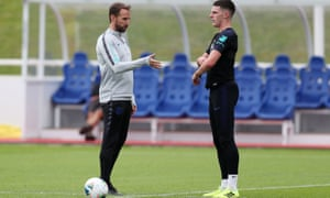 Gareth Southgate and Declan Rice at St George's Park in June: the manager has offered his player support after he was subject to online abuse.
