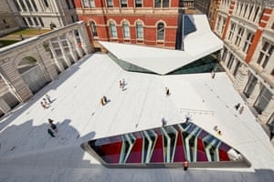 The V&A's new cafe pavilion, ceramic-tiled Sackler courtyard and oculus looking down into the new underground gallery.