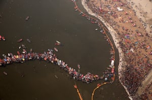 Prayagraj, India. An aerial view of the Sangam – the confluence of Hinduism three most holy rivers: the Ganges, the Yamuna and the Saraswati – during Kumbh Mela
