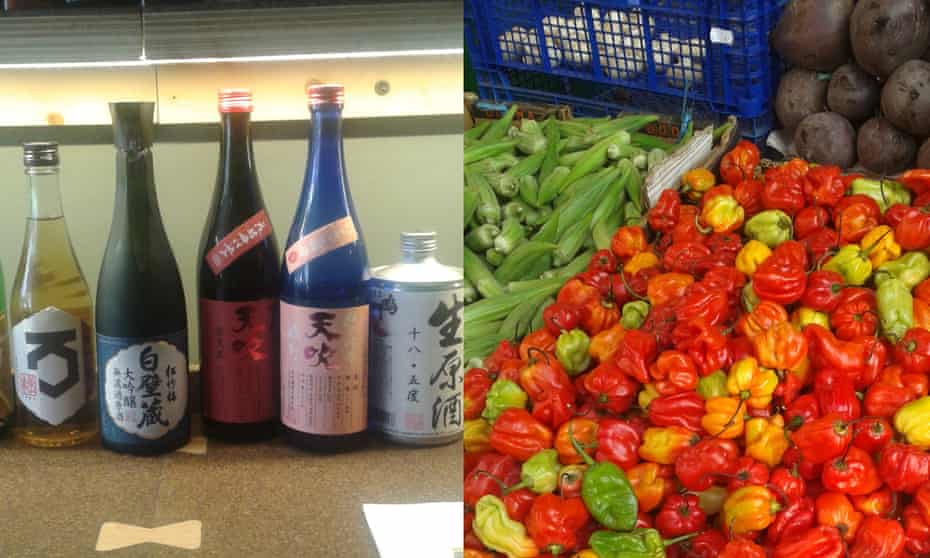 sake and scotch bonnet peppers