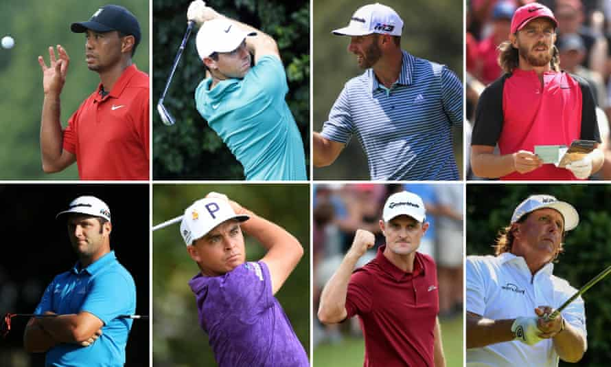 Clockwise from top left: Tiger Woods, Rory McIlroy, Dustin Johnson, Tommy Fleetwood, Phil Mickelson, Justin Rose, Rickie Fowler and Jon Rahm.