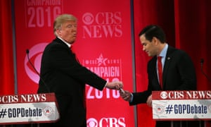 Donald Trump gives Marco Rubio some Tic-Tacs.