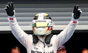 Lewis Hamilton celebrates his win in the Parc Ferme at the Circuit de Spa-Francorchampsa.