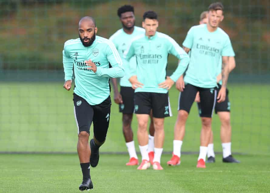 Arsenal players in training on Thursday.