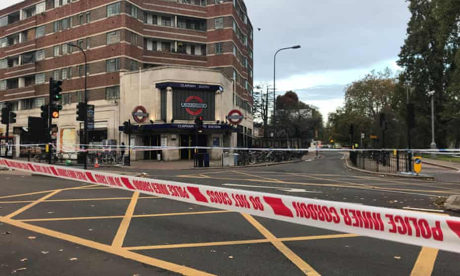 Flowers were laid near Clapham South tube station where the stabbing of the 17-year-old took place.
