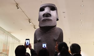 The Hoa Hakananai'a statue from Easter Island, displayed in the British Museum in London.