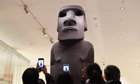 The Hoa Hakananai'a statue from Easter Island at the British Museum in London