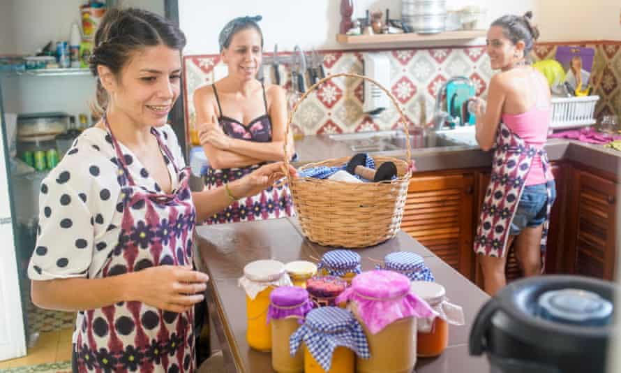 Christa, Kalia and Niela prepare marmalade glasses for delivery. Christa Verena Hernandez is Swiss, with residency in Cuba. Together with her Cuban husband Alexis Hernandez, they own the Kedira guest house and are setting up a dance school in the El Cimarron, a former restaurant, in Havana's Vedado neighbourhood.