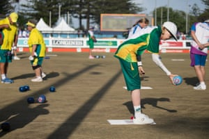 Nozipho Schroeder from South Africa competing in the lawn bowls mixed B2/B3 pairs semi-finals