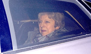 Theresa May leaving Number 10 this afternoon on her way to address Conservative MPs in the Commons.