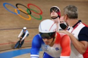 Jack Carlin of Britain looks focussed as the men's sprint qualifiers begin.